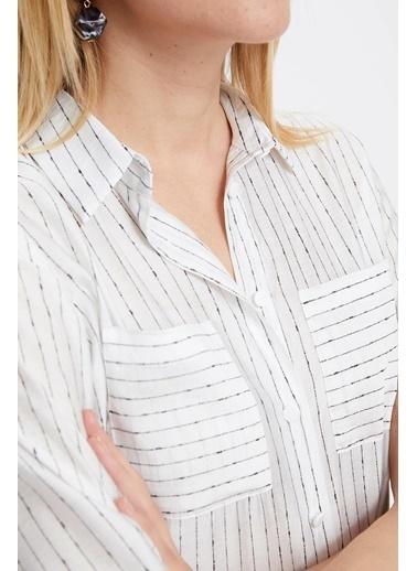 DeFacto Çizgili Dokuma Gömlek Beyaz